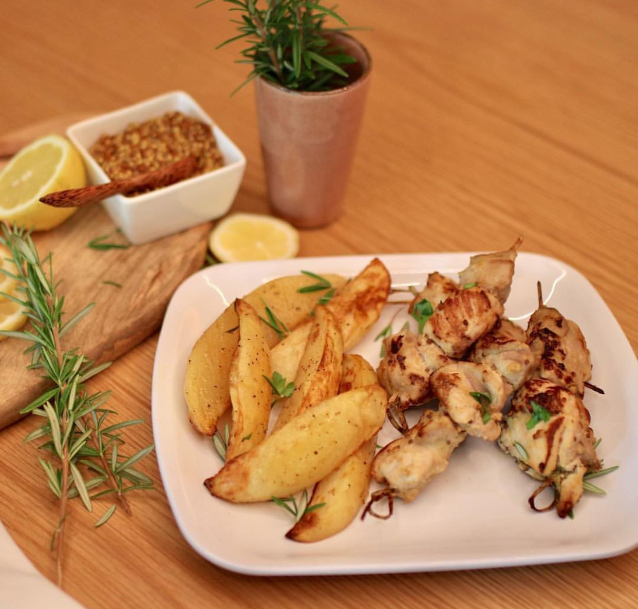Lemon & Rosemary Chicken Skewers with Roasted potatoes