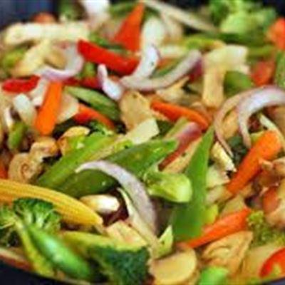 Vegetarian stir fry with steamed rice-GF DF