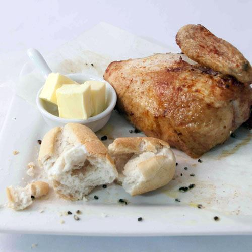 BBQ Chicken Quarters with Bread roll