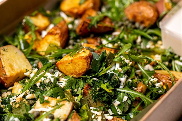 Rustic potato salad, rocket, shallots, grated egg, sweet pickles, capers, chopped dill (GF, DF)