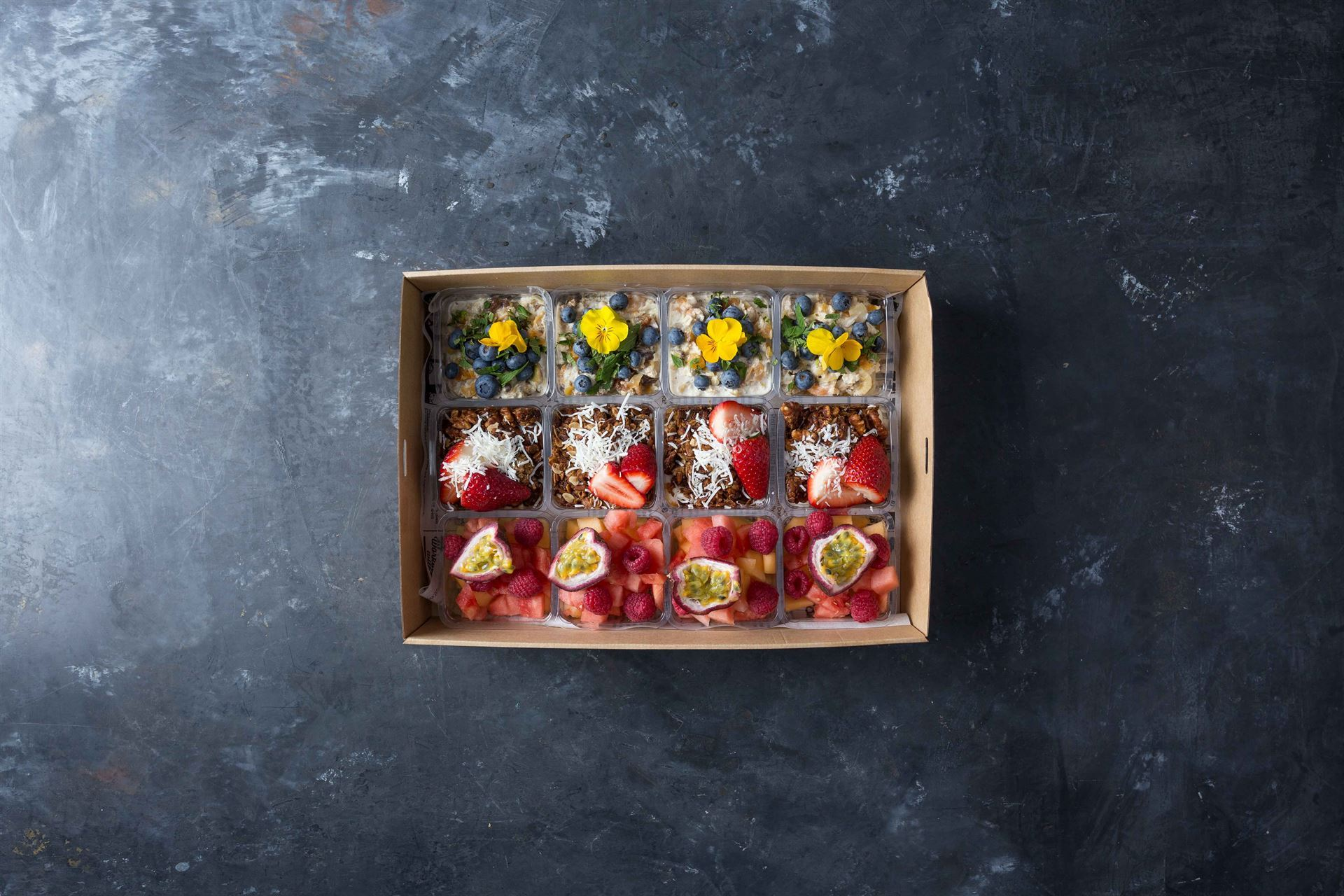 Healthy cups - Seasonal fruit, toasted nut and passionfruit curd