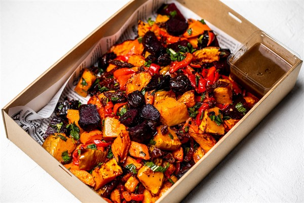 Oregano roasted chicken, Classic mixed roasted vegetables, pumpkin, carrots, beetroot, red peppers, semi dried tomatoes, tarragon