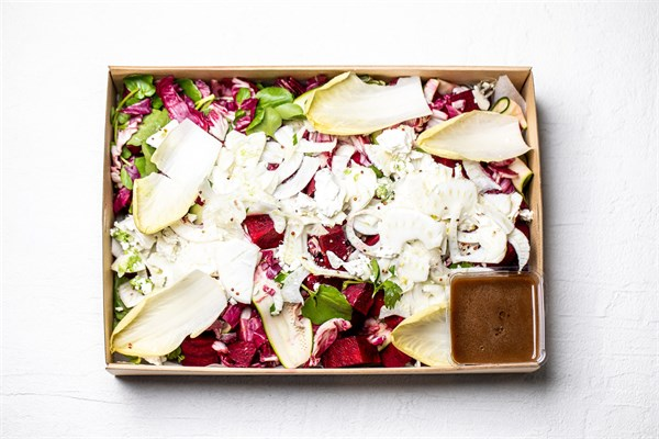 Slow roasted ocean trout, Roasted beetroot, shaved zucchini, fennel, watercress, Persian feta, radicchio, mint salad (GF)