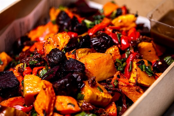 Classic mixed roasted vegetables, pumpkin, carrots, beetroot, red peppers, semi dried tomatoes, tarragon (GF, DF, V, Vegan)