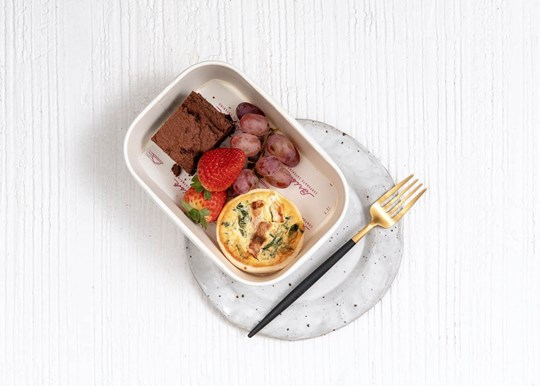 Brownie, Quiche and Fruit Box