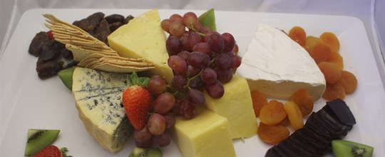 Gourmet Cheese & Fruit Platter  served with Water & Rice Crackers