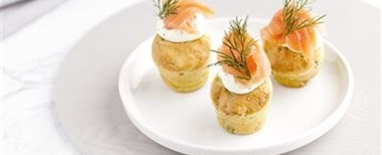 Mini herb muffins topped with dill cream cheese, roasted pumpkin, sun dried tomatoes and olives (V)