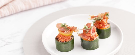 Grilled Zucchini Bites w/ Semi Dried Tomato Tapenade and Crispy Prosciutto