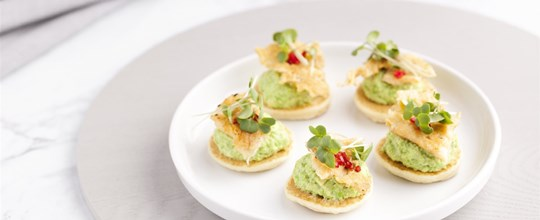 Potato Bilini w/ Pea and Mint Puree & Parmesan Crisps