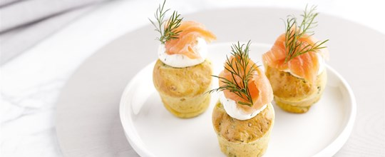 Mini Herb and Salmon Muffins topped with Dill Cream Cheese & Smoked Salmon