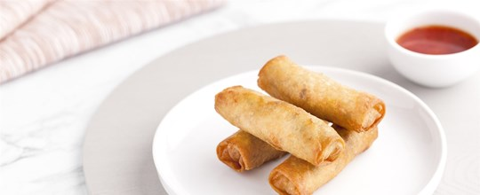 Vegetable Spring Rolls served w/ a Chilli Lime Dipping Sauce