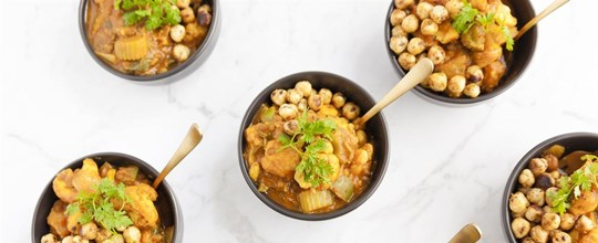 Lentil and Cauliflower Curry w/ spiced Chickpeas (bowl)