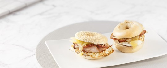 Mini Savoury Bagels - Bacon, Egg & Cheese