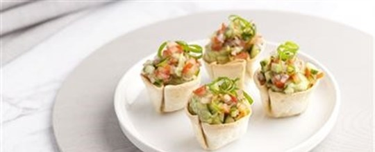 Mini Mexican Tortilla cups with Guacamole and Tomato Salsa