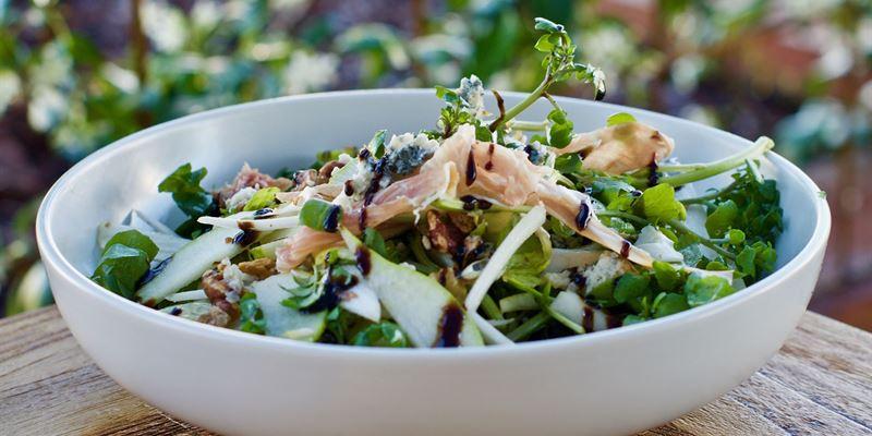 Prosciutto - gorgonzola, witlof, pear & toasted walnut salad with watercress