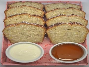 Banana Bread Loaf Sliced with Honey Yoghurt