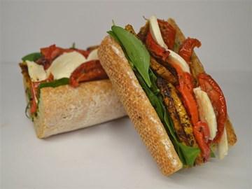 Wholemeal Baguette - Tapenade, spinach, pumpkin, boccocini, semi dried tomato (V)