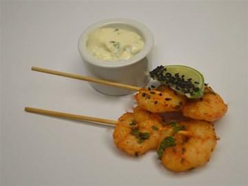 Skewers: Spicy Harissa  Prawns with Mint Yoghurt (GF)