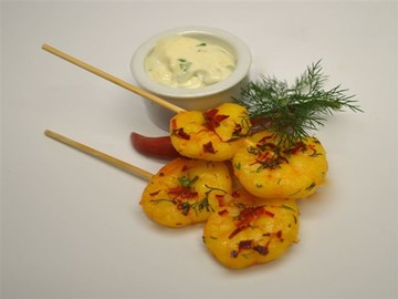 Skewers: Saffron & Chilli Prawns with Lemon & Coriander Aioli (GF)