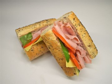 Multigrain Baguette - Large Ham, Cheese, Tomato, Basil