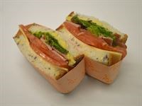 Gluten Free Sandwich: Relish, Bacon, Roquette, Tomato, Zucchini Ribbons (GF/DF)