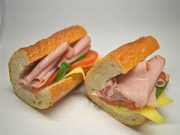 Baguette - Large Ham, Cheese, Tomato & Basil