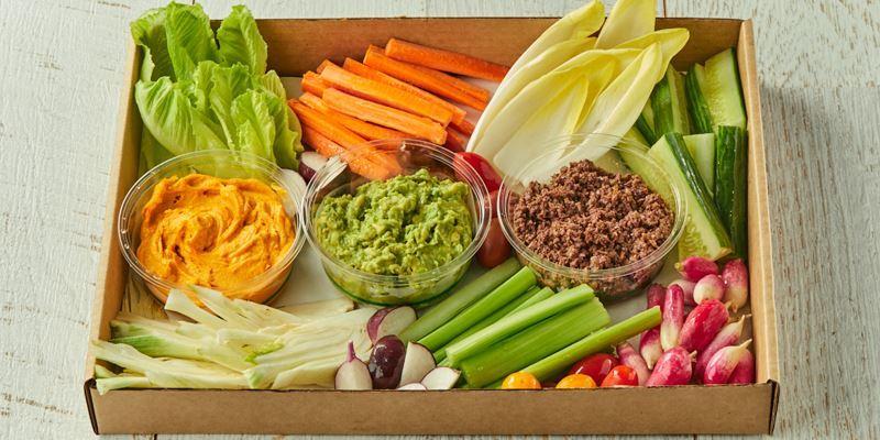 Dips with crudite & seasonal vegetables (df,vv)