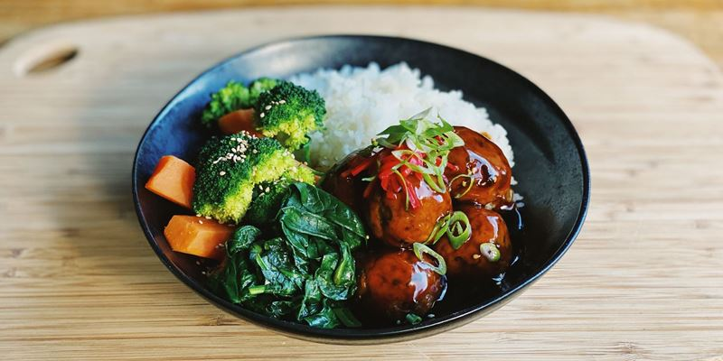 Chicken Teriyaki Meatballs  w/ Rice & Vegetables (gf)