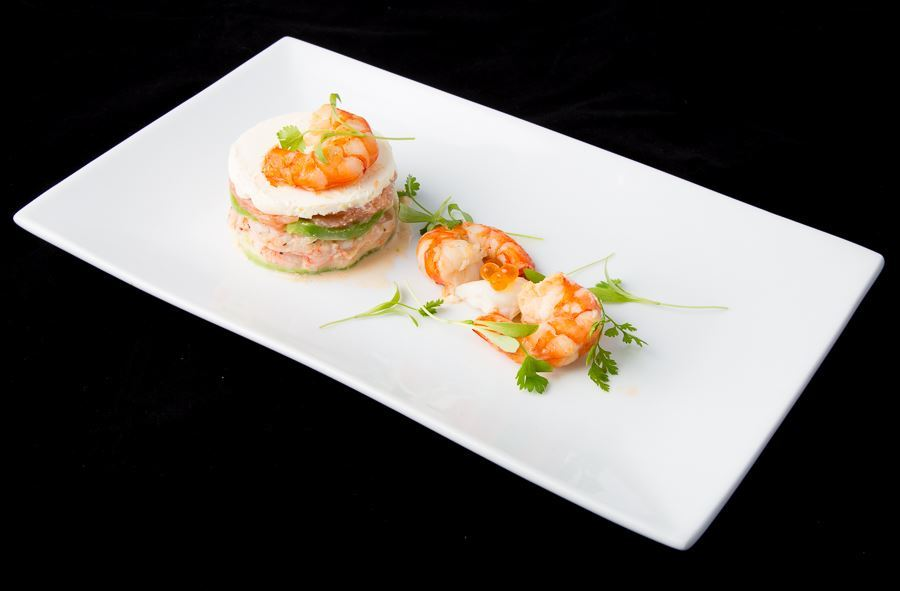 Prawn and smoked salmon tian