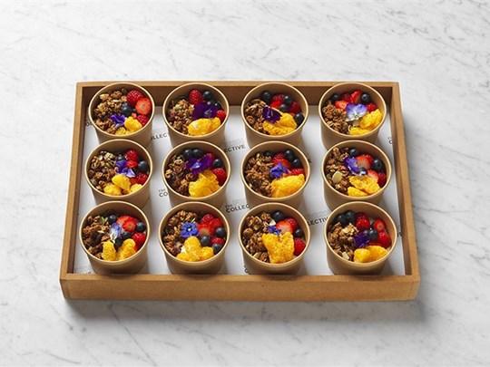Organic granola breakfast pots
