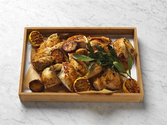 Roasted organic chicken, confit garlic and lemon