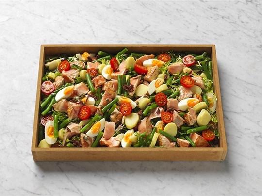 Cooked salmon, nicoise salad gf