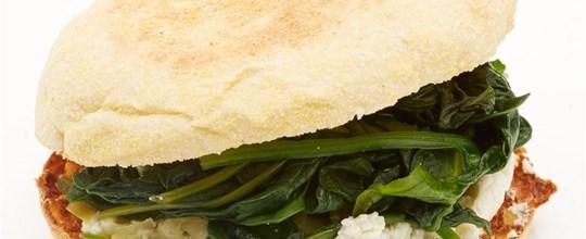 Sautéed Spinach, Leek & Ricotta English Muffin Sandwich V