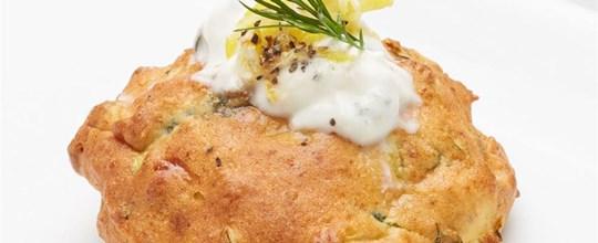 Zucchini & Ricotta fritters with zested lemon & dill yoghurt V GF