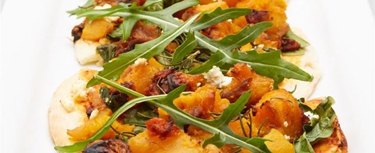 Roast pumpkin, wilted spinach, fetta & rosemary pizza