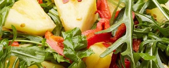 Chilli pineapple, capsicum and roquet salad VEGAN GF