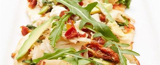 Smoked chicken, fetta, semi dry tomato, spinach & avocado pizza