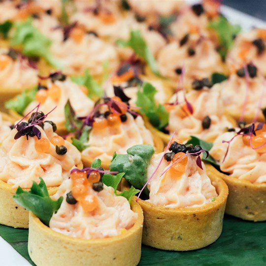 Smoked Trout Mousse Tart with Fried Capers & Salmon Roe