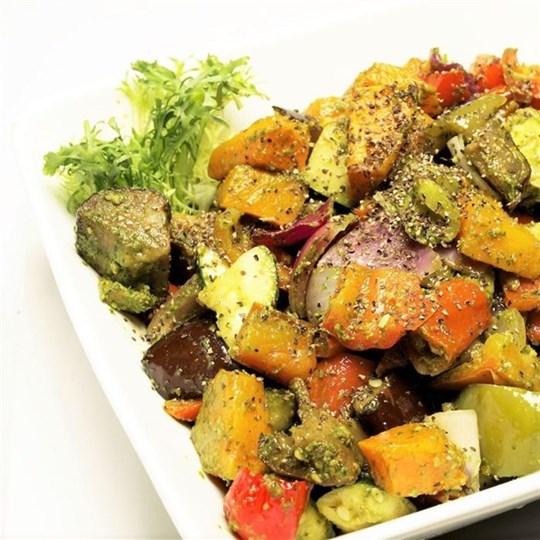 Roast Vegetable Salad with Pesto Dressing (GF) (VEG)