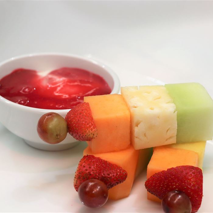 Mini Fruit Skewer - with yoghurt & berry dipping sauce