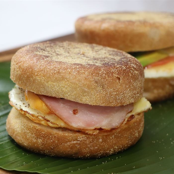 English Muffin - Toasted filled with egg, bacon, cheese and tomato relish