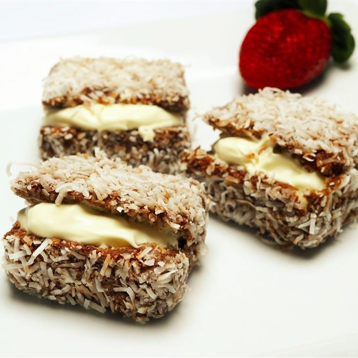 Lamingtons -  filled with jam and cream