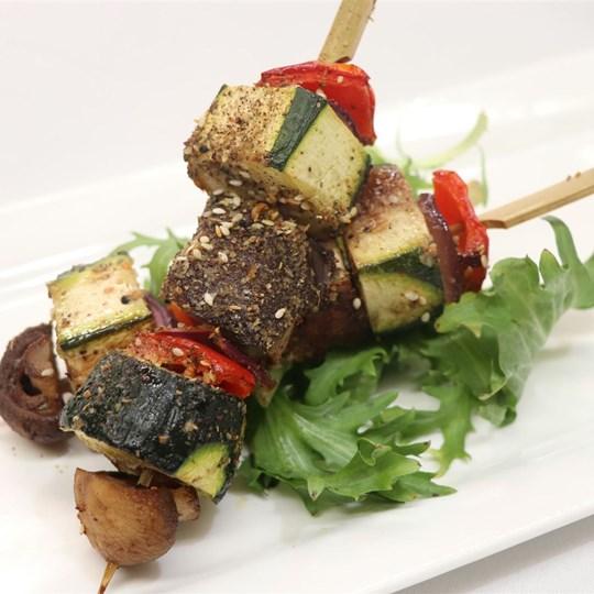 Vegetable skewer - with dukkah seasoning and grilled in a lemon herb marinade (GF) (VEGAN)