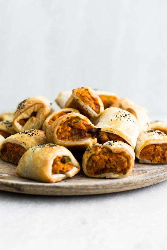 Vegan Moroccan Spiced Chickpea & Sweet Potato Roll with Tomato Relish