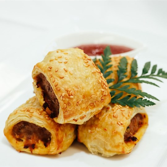 Homemade Sausage Roll - with tomato sauce