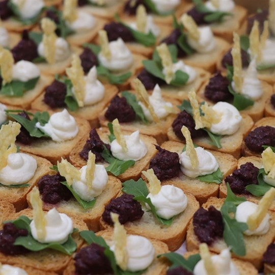 Parmesan Wafer, Micro Herbs, Olive Tapenade & Goats Cheese Crostini Square (VEG)