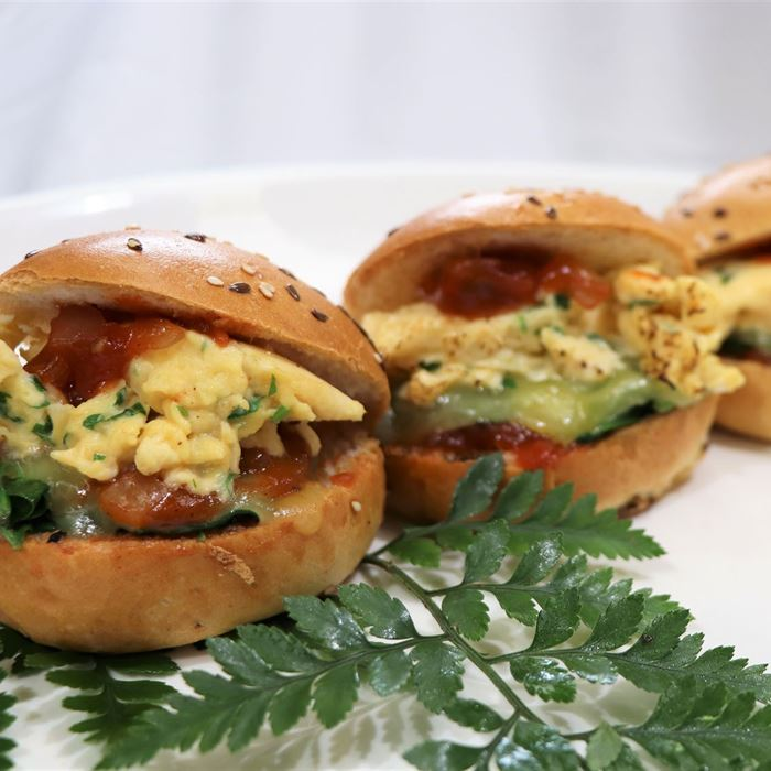 Breakfast Burgers w scrambled eggs, cheese, spinach & tomato chutney in brioche (medium size)