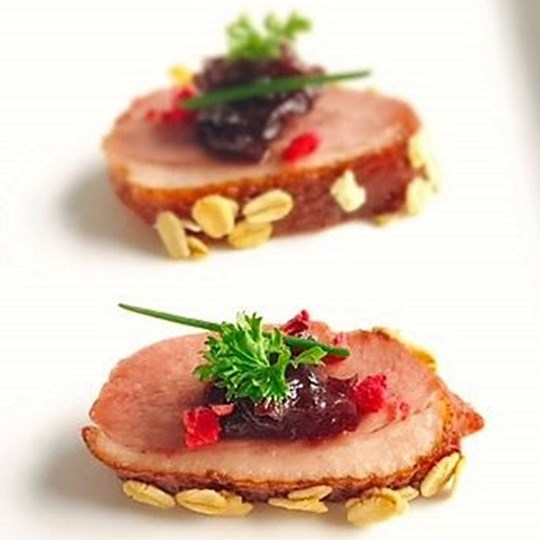 Smoked Duck with Sweet Shiraz Shallots and Toasted Oats (DF)