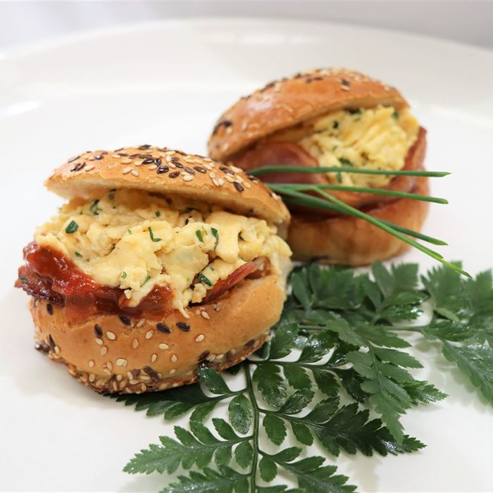 Breakfast Burgers w scrambled eggs, bacon & tomato chutney in brioche (medium size)