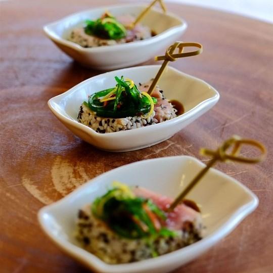 Sesame Crusted Yellow Fin Tuna with Wakame Salad (GF)